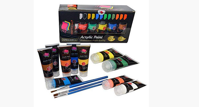 Acrylic Paint Set 12 Colors Crafts 4 All