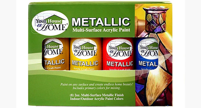 Metallic Multi-Surface Acrylic Craft Paint Set by Your House a Home