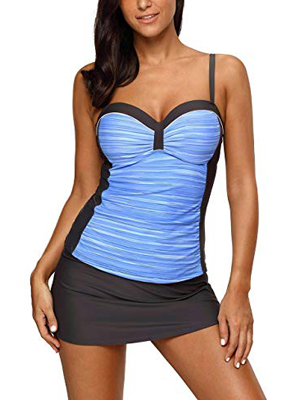 Nicetage Women's Summer Colorblock Two Piece Underwire Support Tankini Tops with Skirted Bottom Swimsuit Set