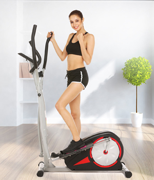 Fast 88 Portable Elliptical Machine Fitness Workout Cardio Training Machine, Magnetic Control Mute Elliptical Trainer with LCD Monitor, Elliptical Machine Trainer (Black)